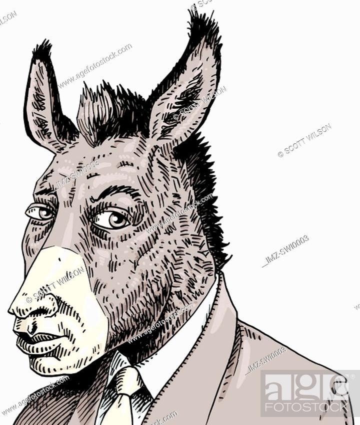 Stock Photo: Businessman with donkeys head.