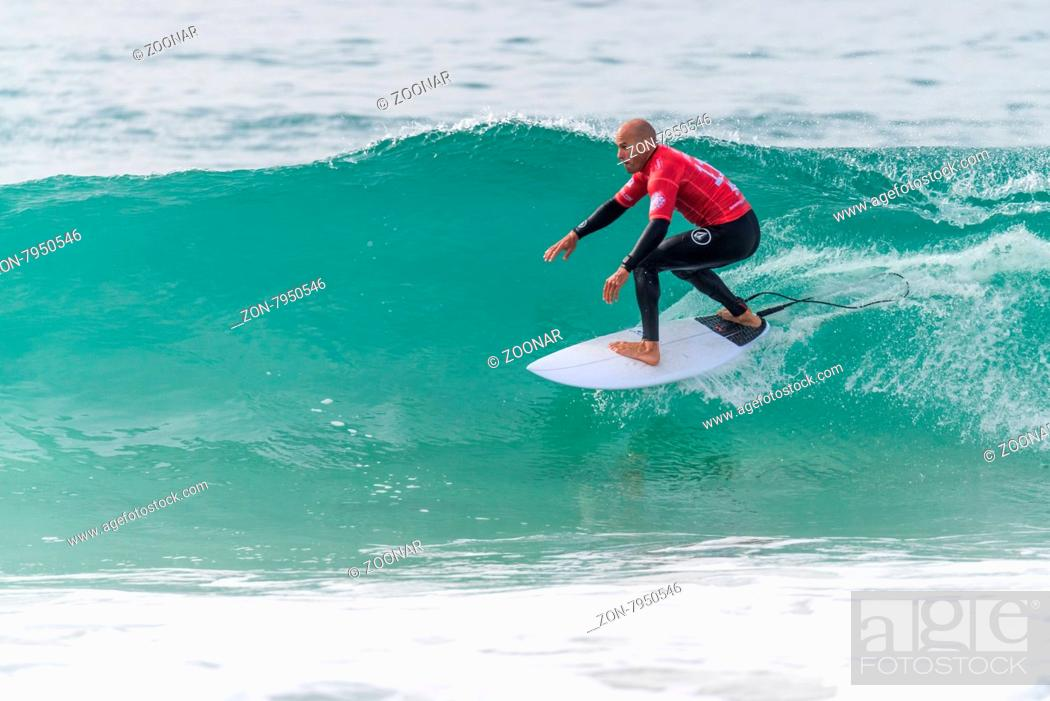 Stock Photo: PENICHE, PORTUGAL - OCTOBER 23, 2015: Kelly Slater (USA) during the Moche Rip Curl Pro Portugal, Men's Samsung Galaxy Championship Tour #10.