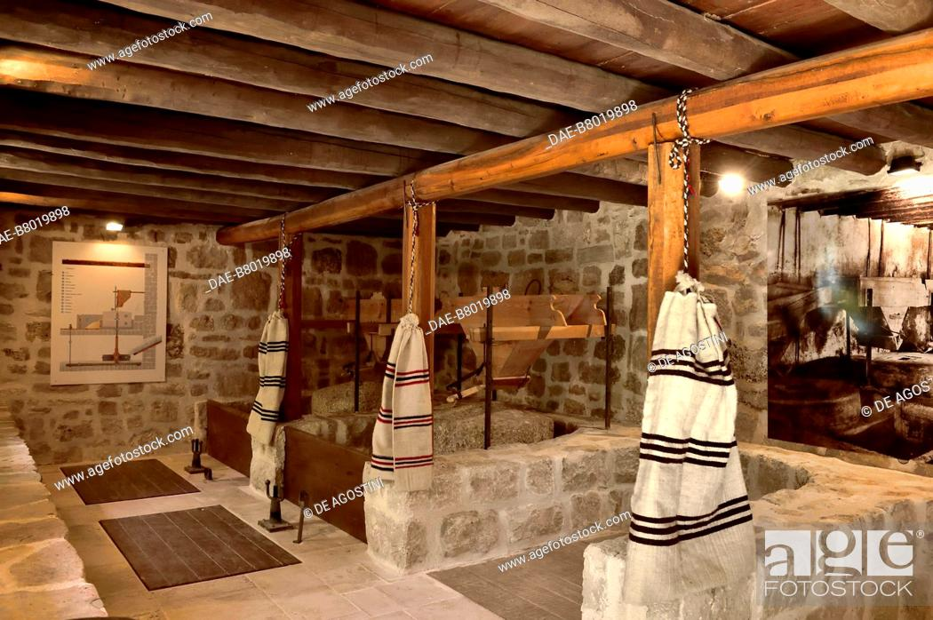 Stock Photo: Water mills for grinding wheat, Roski Slap, Krka National Park, Croatia. Roski Slap, Ethnographic Museum of Krka National Park.