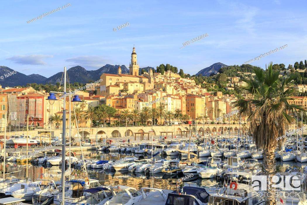 Stock Photo: France, Alpes Maritimes, Menton, the Vieux Port and the old town dominated by the Saint Michel Archange basilica.