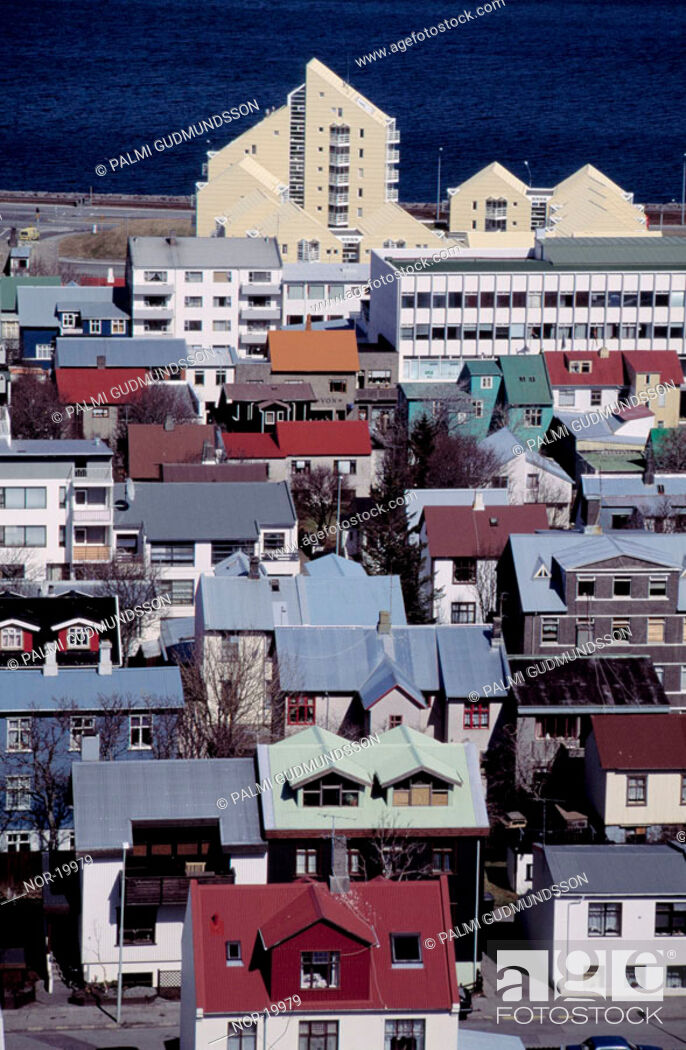 Stock Photo: Overview of colourful roofs on houses in Reykjavik.