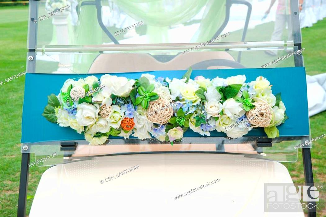 Decorated Golf Cart For Wedding Stock Photo Picture And
