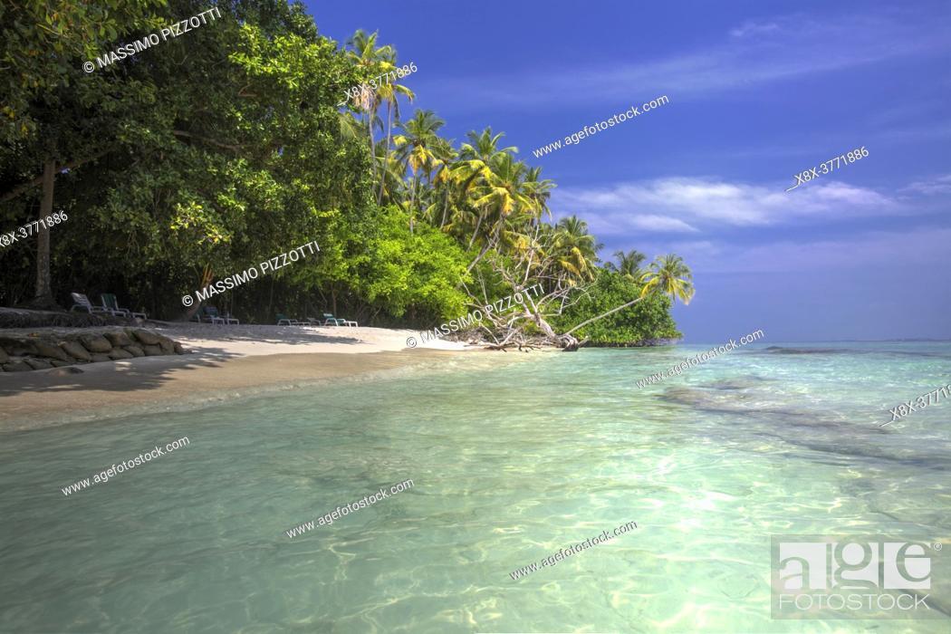 Stock Photo: Seashore in Biyadhoo island, Maldives.