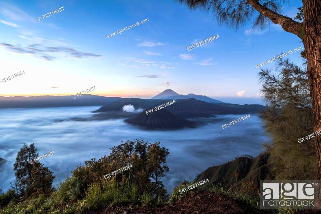 Stock Photo: View on the mount bromo landscape at night in Indonesia.