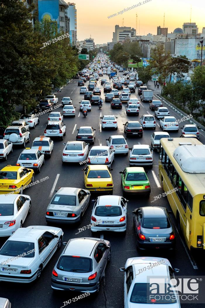 Stock Photo: Evening traffic jam in Tehran one of the most polluted cities in the world according to World Health Organization.