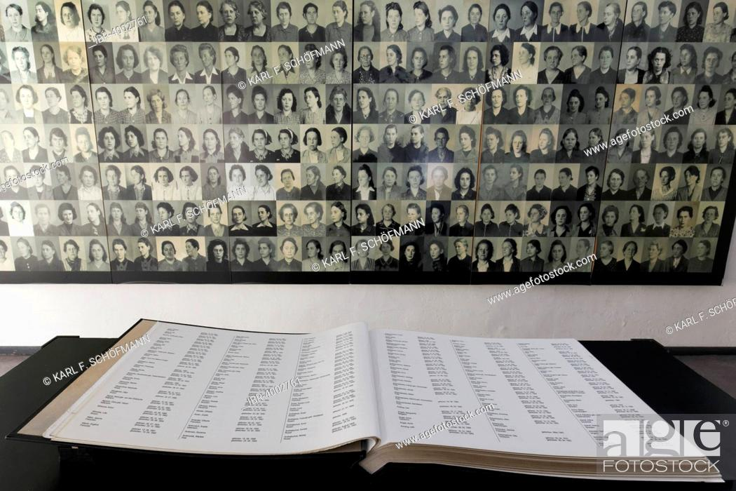 Stock Photo: Memorial book in the former guard's house, site of the names, Ravensbrück National Memorial, former women's concentration camp, Fürstenberg Havel, Brandenburg.