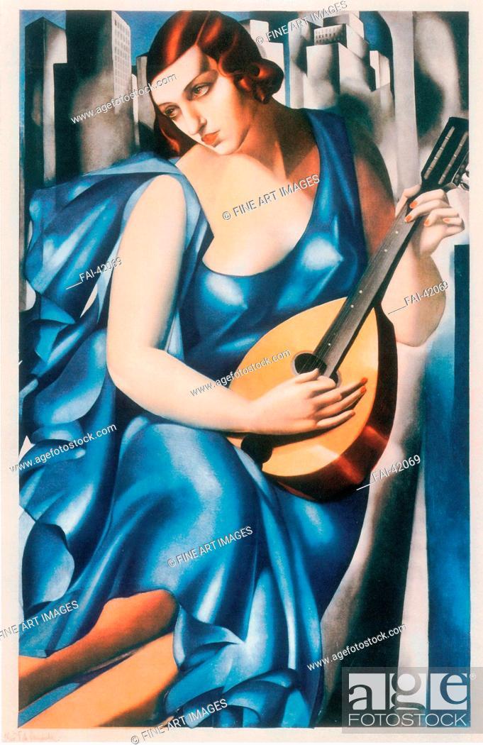 Stock Photo: The musician by Lempicka, Tamara de (1898-1980)/Aquatint/Art Nouveau/1933/Poland/Private Collection/63x41/Music, Dance, Genre/Graphic arts/Die Musikantin von.