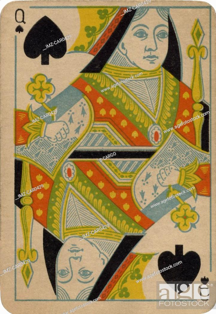 Stock Photo: Queen of Spades vintage playing card.