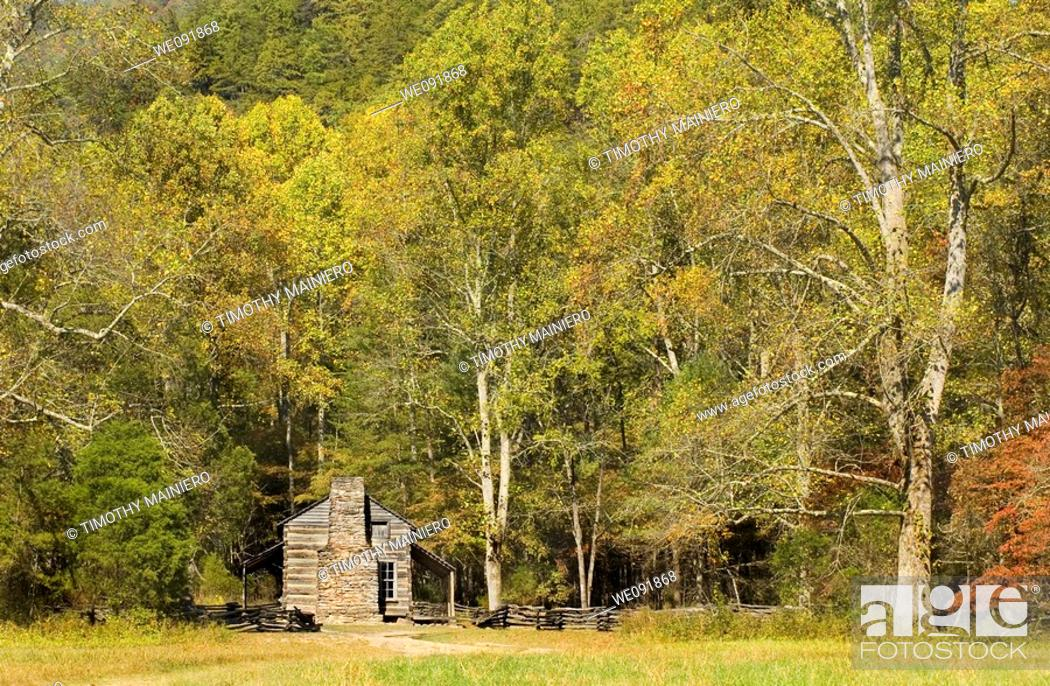 Stock Photo   John Oliver Cabin, Rustic Appalachian Mountain Cabin, Great  Smoky Mountains National Park