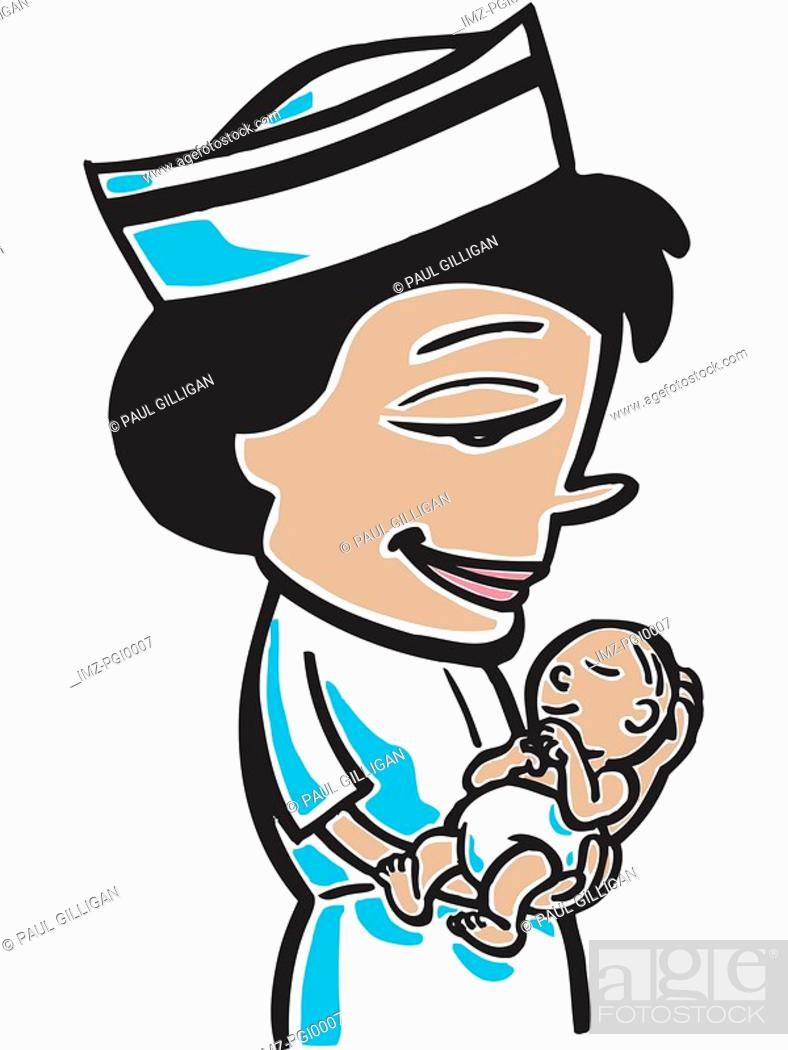 Stock Photo: Nurse with baby.