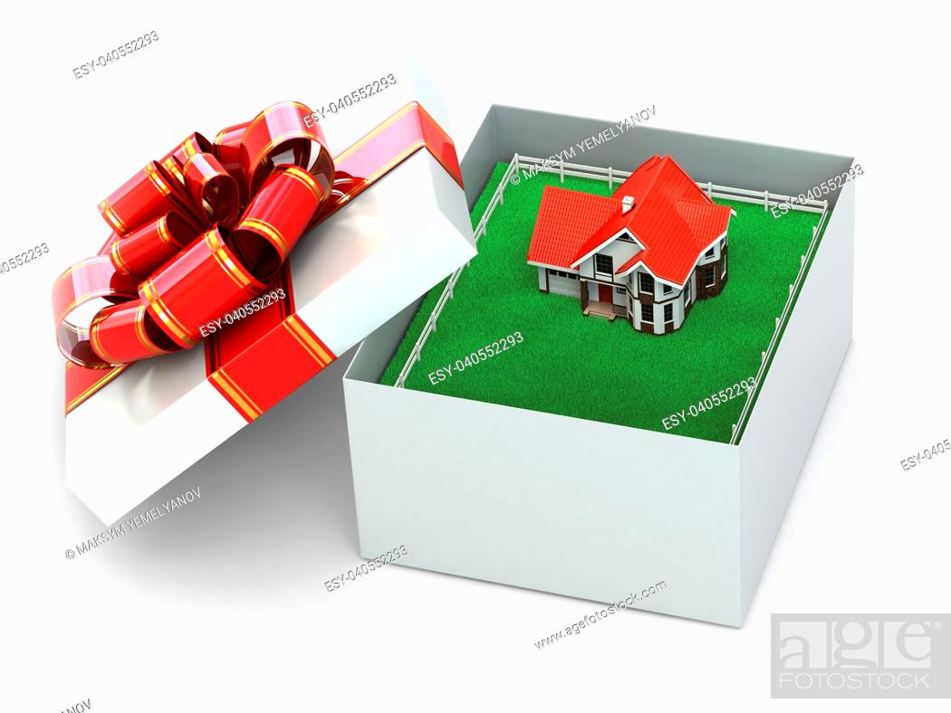 Imagen: House in the gift box on white isolated background. 3d.