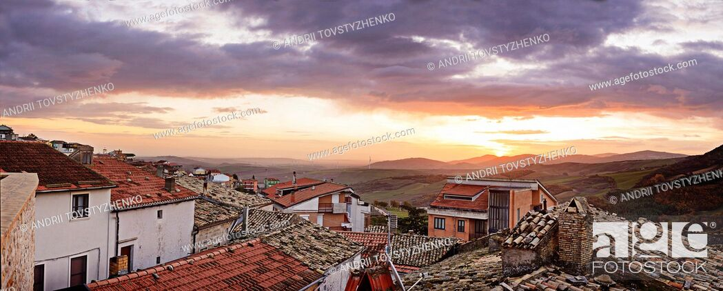 Stock Photo: Panoramic view on the village of Castelluccio. Italy.