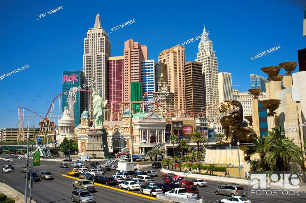 Stock Photo: The Strip - Las Vegas Boulevard with New York New York Hotel in Background.