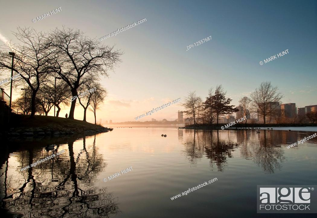 Stock Photo: River with a city in the background, Charles River, Boston, Suffolk County, Massachusetts, USA.