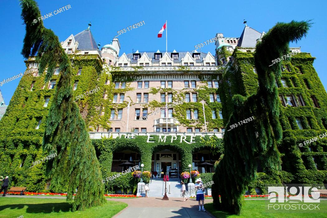 Stock Photo: A vew of the ivy covered front of the Empress Hotel.