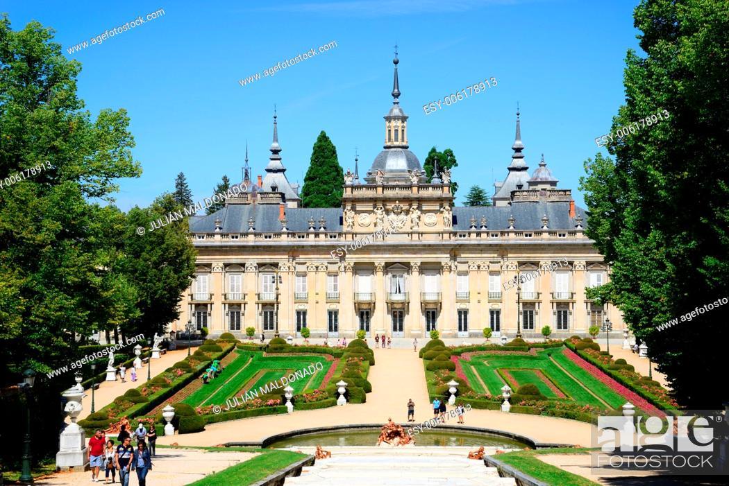 Stock Photo: Royal Palace of La Granja de San Ildefonso, Segovia, Castilla Leon, Spain.