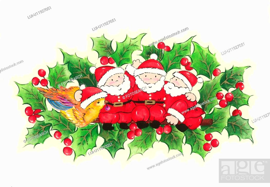 Stock Photo: Three Santa Clauses.