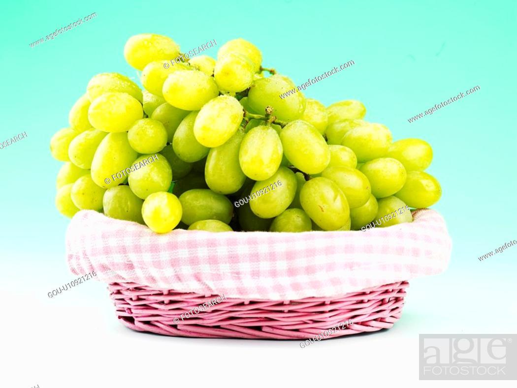 Stock Photo: grape, green grape, fruit, plants, plant, basket.