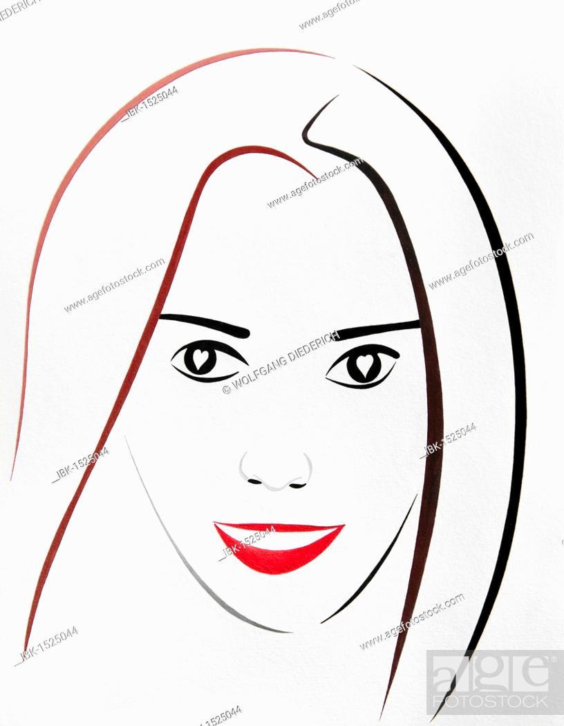 Imagen: Portrait, a young woman's face, drawing, artist Gerhard Kraus, Kriftel, Germany.