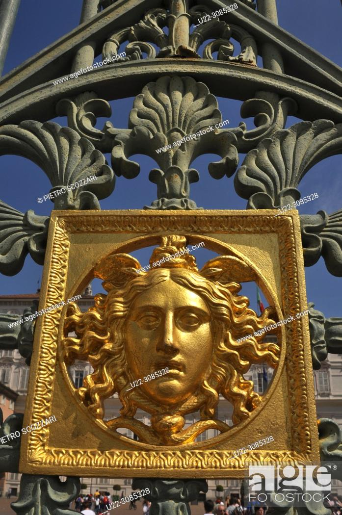 Stock Photo: Turin, Italy: detail of the gate of Palazzo Reale.