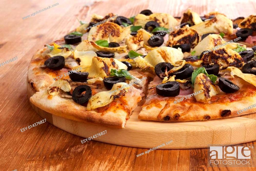 Stock Photo: Pizza detail.