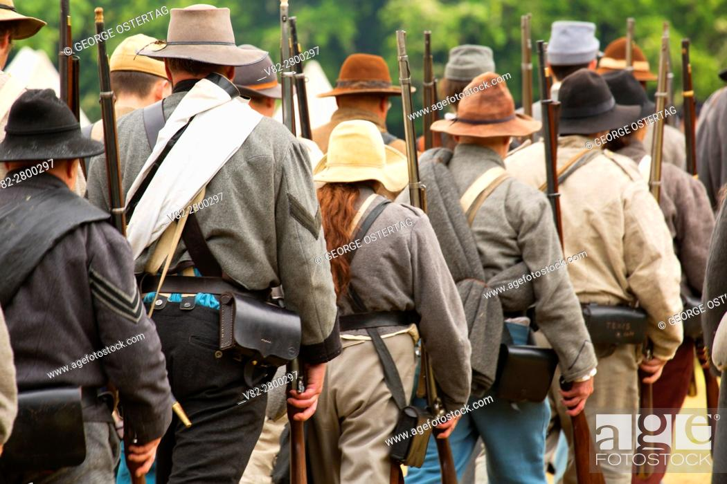 Stock Photo: Confederate soldiers, Civil War Reenactment, Willamette Mission State Park, Oregon.