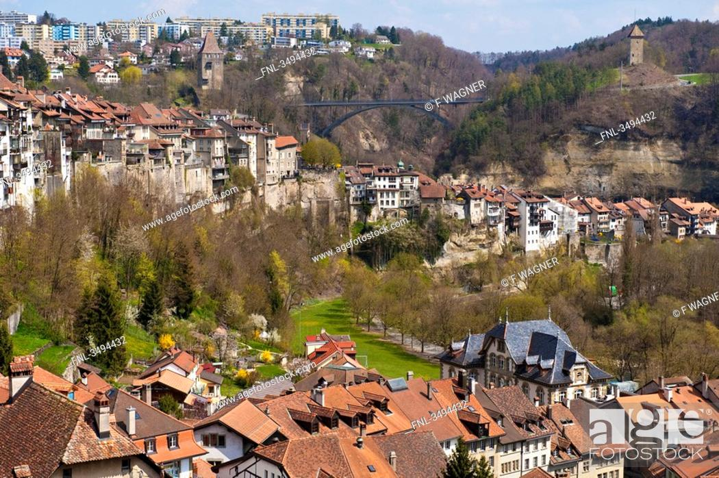 Stock Photo: View of the old town of Freiburg, Switzerland, aerial view.