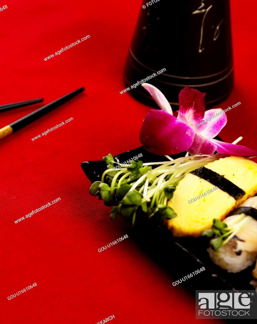 Stock Photo: food, plate, chopstick, decoration, food styling, cuisine, sushi plate.