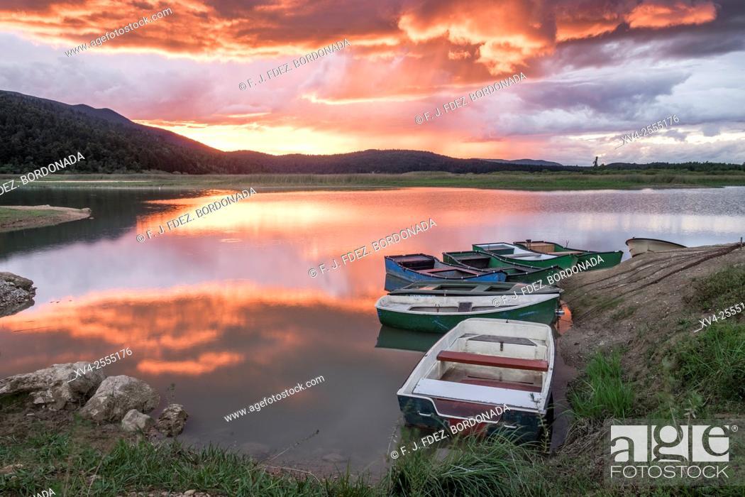 Stock Photo: Cerknica lake sunset spring. Slovenia.