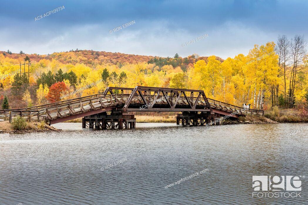 Stock Photo: Bridge over the Madawaska River, Madawaska, Ontario, Canada.