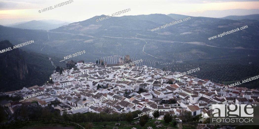 Stock Photo: Bird's eye view of a mountain settlement.