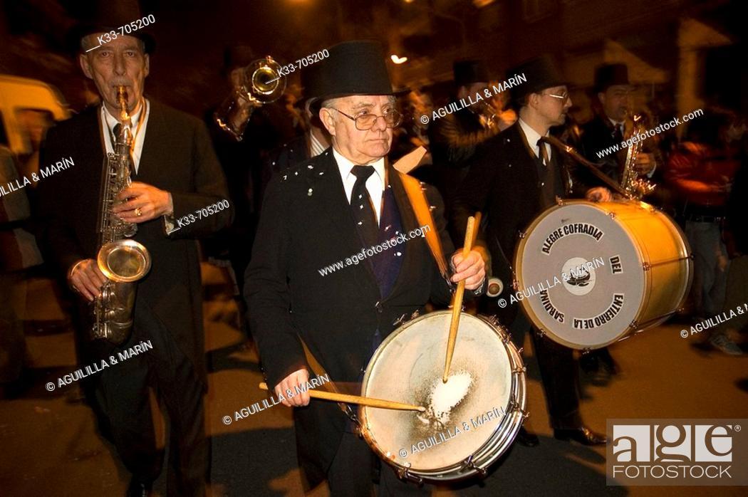 Stock Photo: Carnaval. 'Cofradia del Entierro de la sardina'. Madrid. Spain.