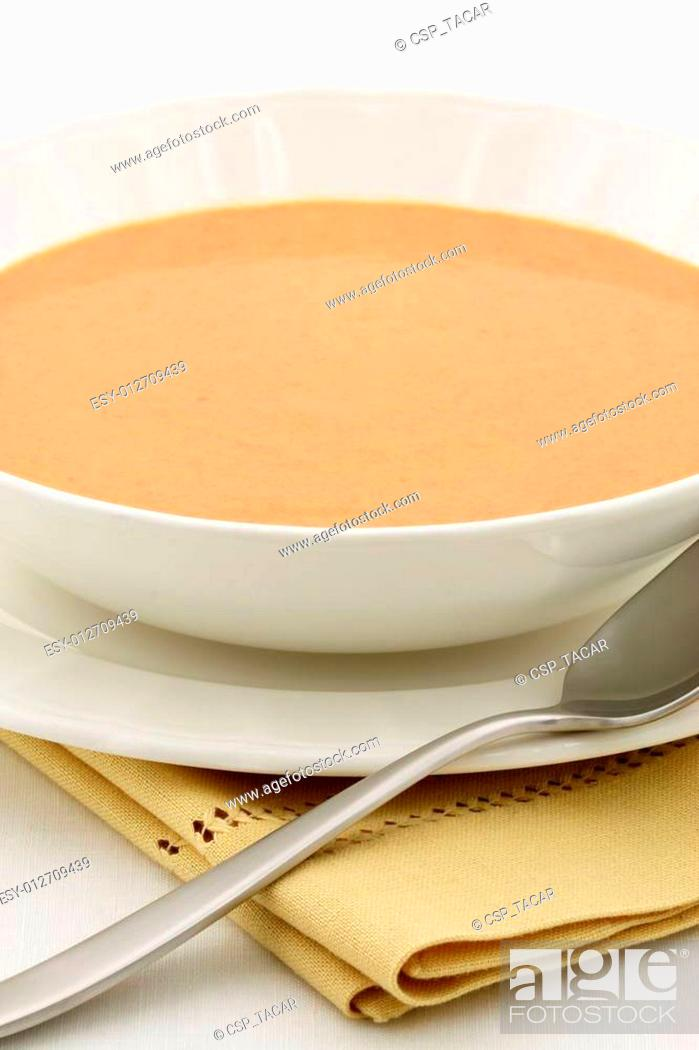Stock Photo: delicious french lobster bisque.
