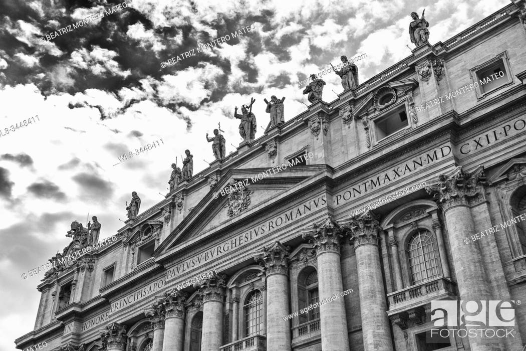 Stock Photo: St. Peter's Basilica in the Vatican City in Rome (Italy) in black and white.