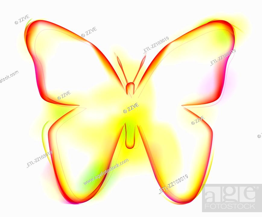 Stock Photo: Butterfly shape on white background.