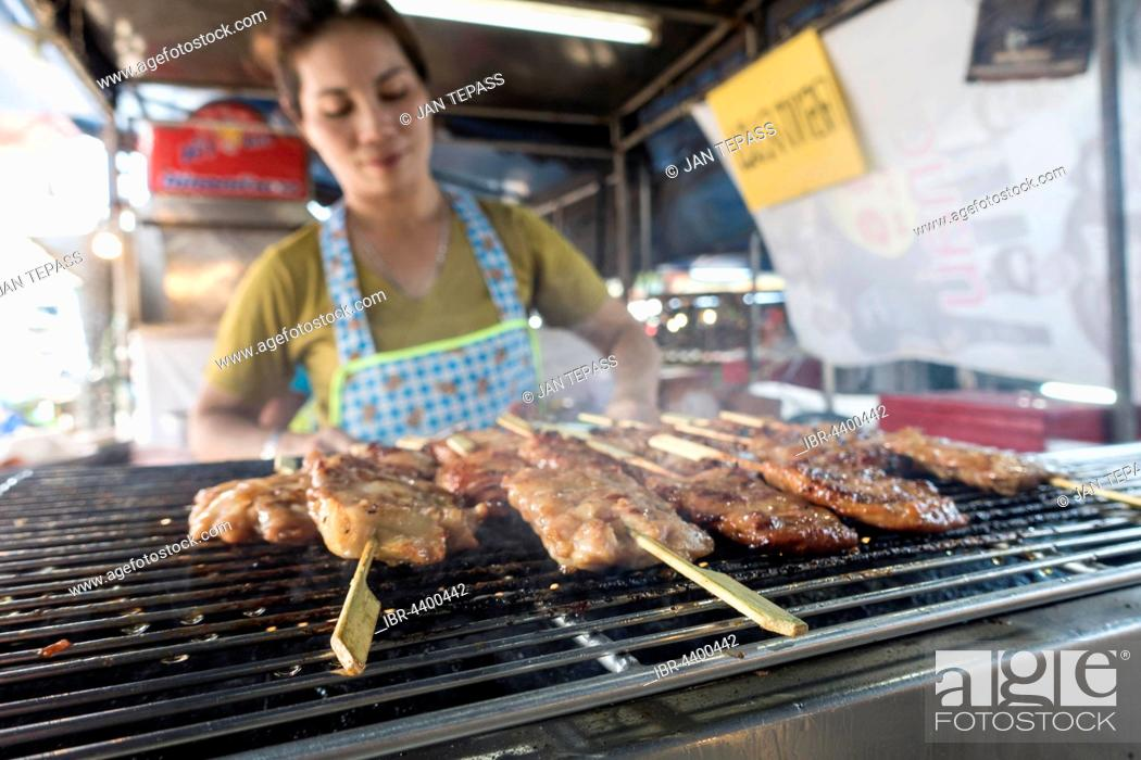 Stock Photo: Market, meat skewers at a market stall, Krabi Town, Krabi Province, Thailand.