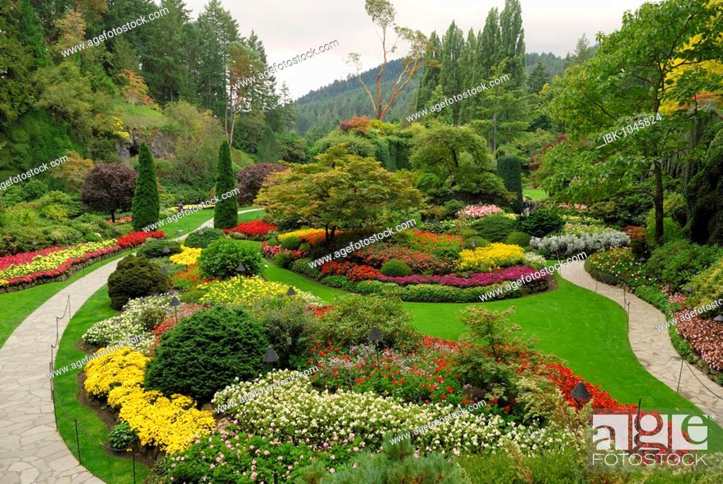 Stock Photo: Butchart Gardens near Victoria, Vancouver Island, British Columbia, Canada, North America.