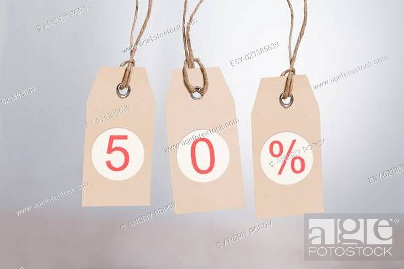 Stock Photo: 50% Discount Tags.