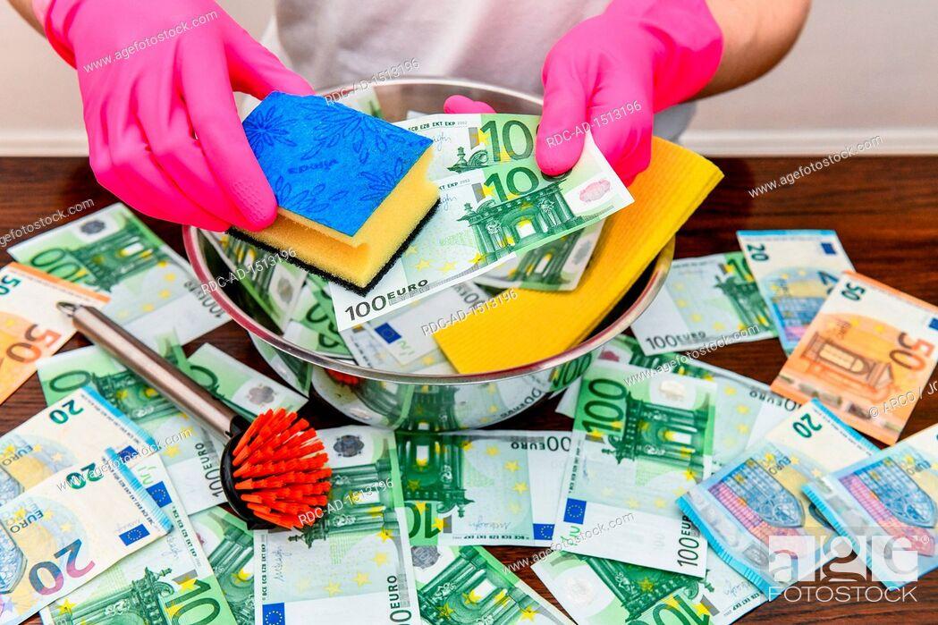Stock Photo: money laundering, Euro notes.