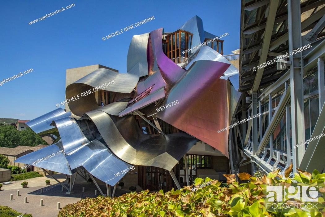 Stock Photo: Spain, La Rioja Area, Alava Province, Elciego, elevated town view and Hotel Marques de Riscal, designed by Architect Frank Gehry.