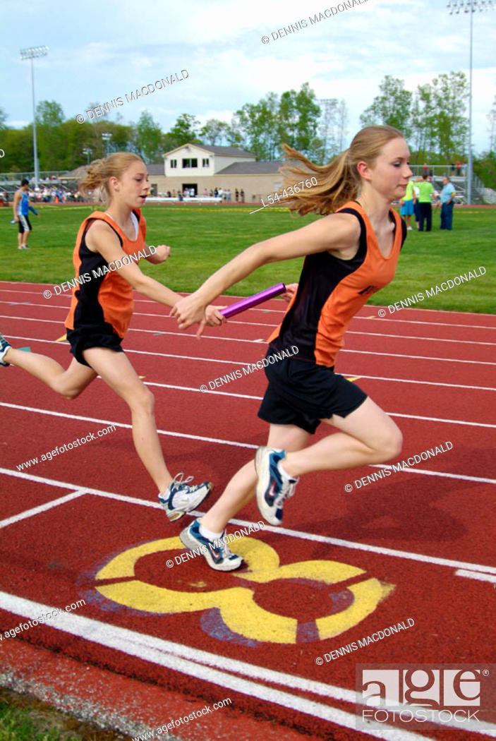 Stock Photo: High School Track and Field event.