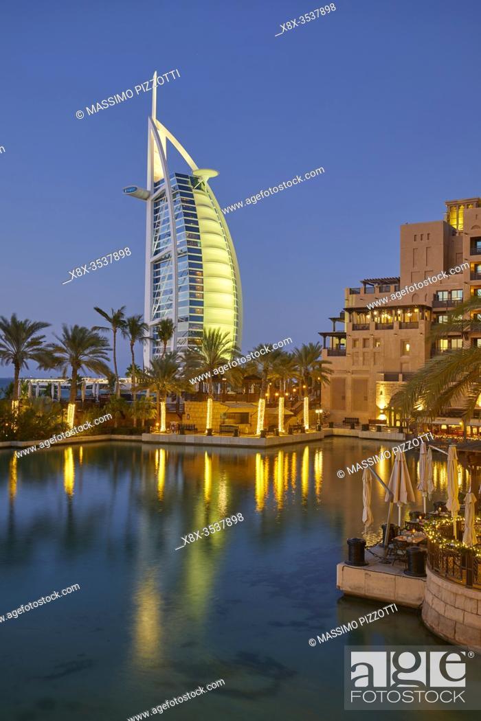 Stock Photo: Burj Al Arab hotel at dusk, Dubai, United Arab Emirates (UAE).