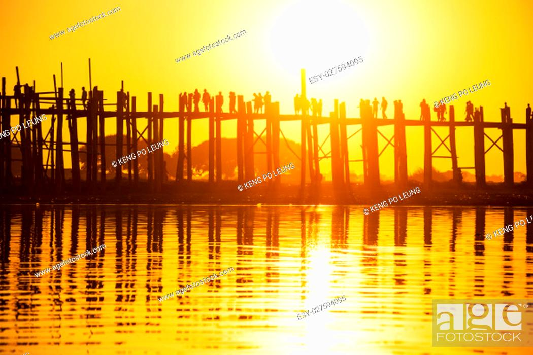 Stock Photo: U bein bridge at sunset, Myanmar landmark in mandalay.