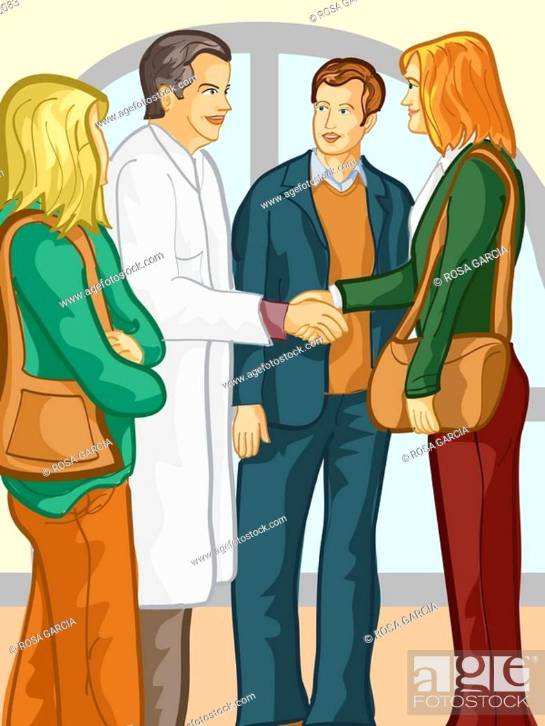 Stock Photo: A group of family members speaking with a doctor.