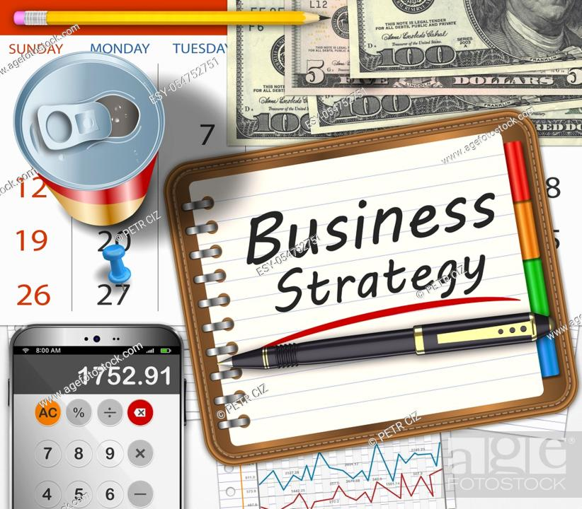 Stock Photo: Office desk with notebook inscription business strategy as concept.