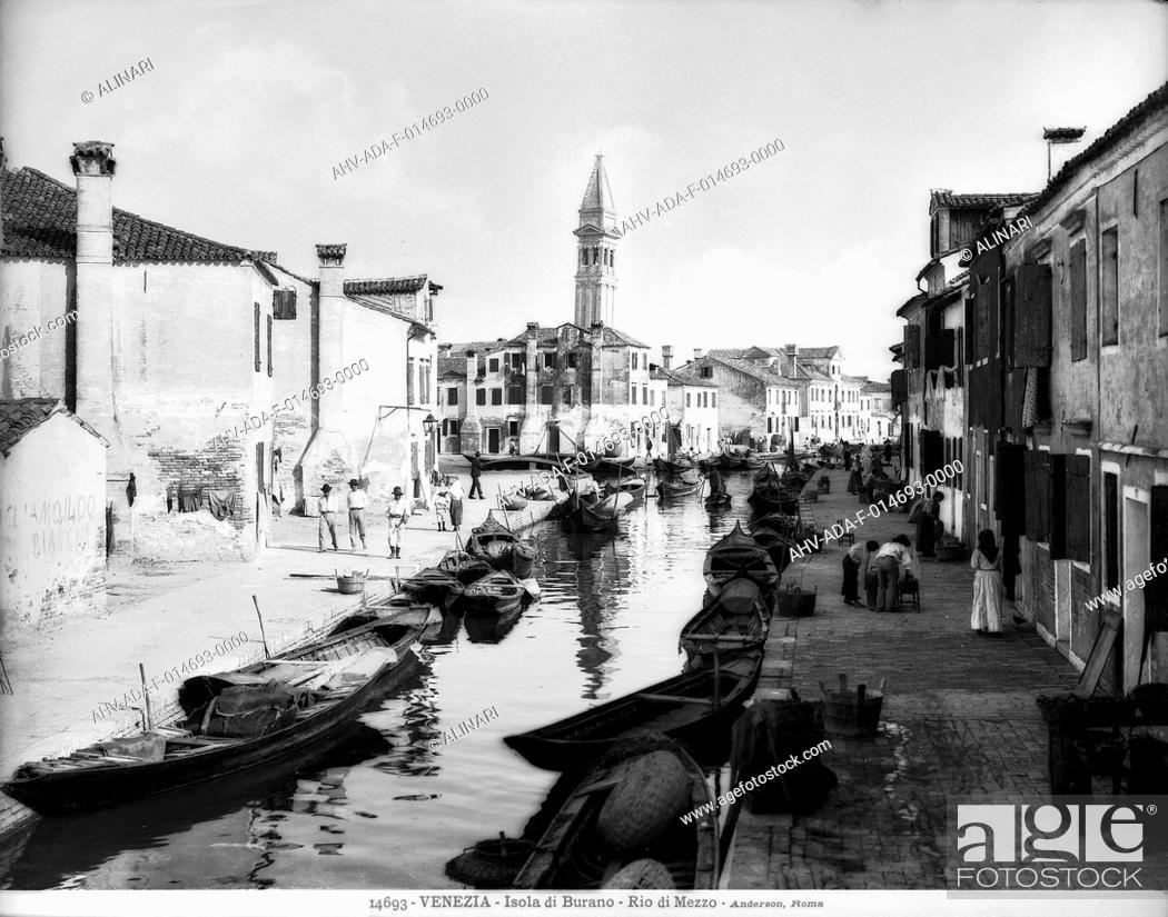 Stock Photo: View of Rio di Mezzo on the Island of Burano in the lagoon of Venice, shot 1901 by Anderson.