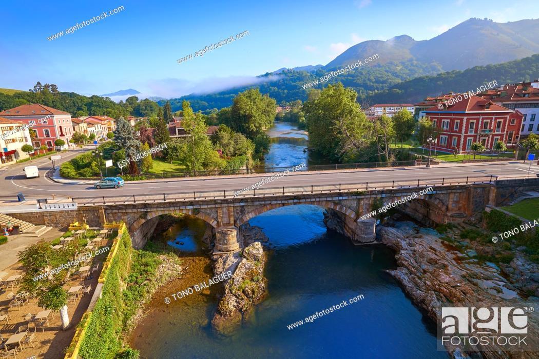 Stock Photo: Cangas de Onis village in Asturias of Spain.