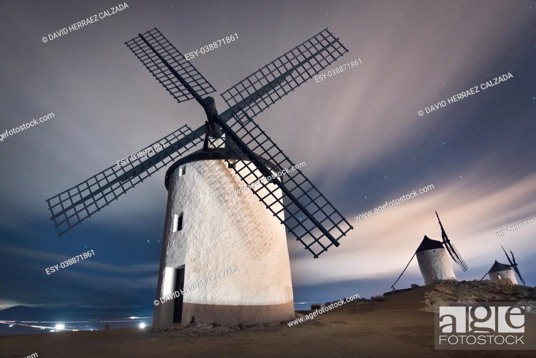 Stock Photo: Don Quixote windmills at night. Famous landmark in Consuegra, Toledo Spain.