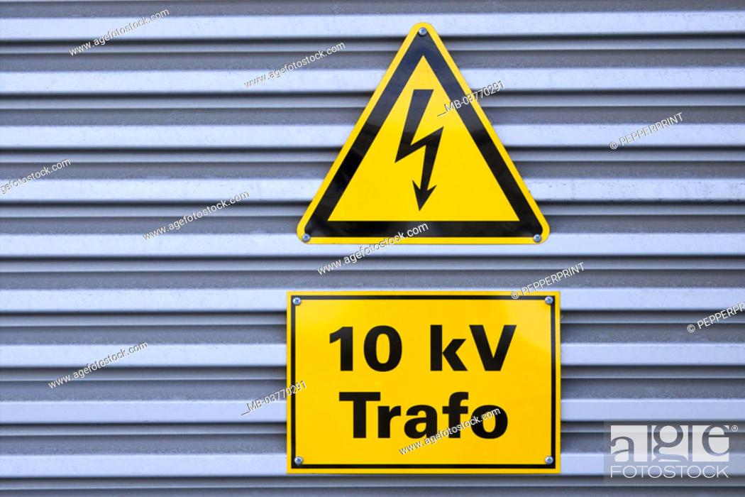 Symbol Trafostation substation, detail, signs, pictogram 'arrow',' 10 kv trafo' power