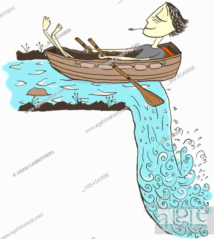 Stock Photo: A man relaxing in a row boat about to go over a waterfall.